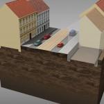 0. fáze výstavby tunelu v Zenklově ulici – výchozí stav (© 2010 SATRA & ARTOO)