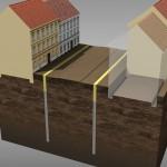 1. fáze výstavby – hloubení podzemních stěn (© 2010 SATRA & ARTOO)