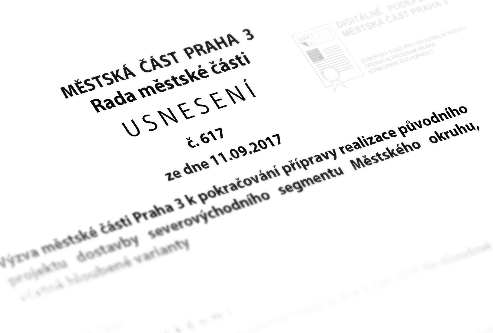 Usnesení Rady a ZMČ Praha 3